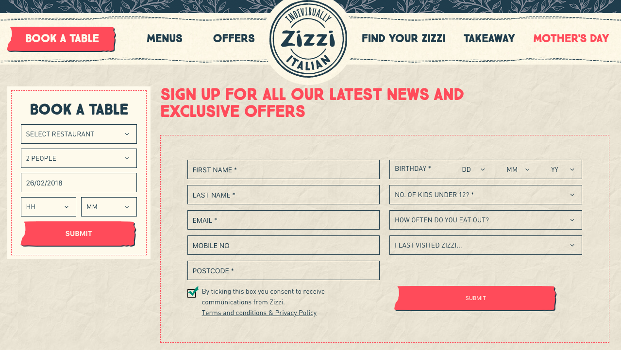 Zizzi's Website